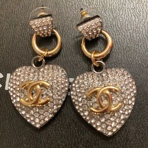 Chanel Heart Drop Crystal Pave Earrings ❤️